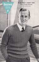 vintage mens pullove knitting pattern from 1940s v neck saddles shoulder to fit 40 inch chest