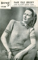 1940s Wartime Fair Isle Short Sleeve Jumper knitting pattern