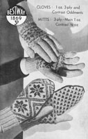vintage ladies mittens and gloves in fair isle from 194s knitting pattern