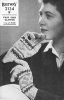 vintage ladies fair isle glove knitting pattern from 1940s