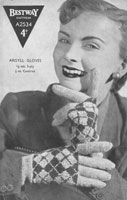 vintage ladies glove knitting pattern with fair isle backs 1940s