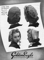 vintage ladies hats knitting pattern with fair isle style 1940s