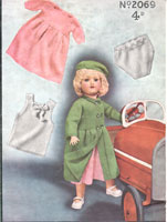 vintagae doll knitting pattern from 1940s