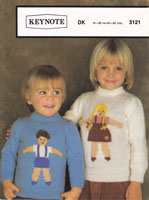 vintage knitting pattern for childs picture or intarsia jumper