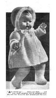 Sally dress set knitting pattern for baby doll 17 inches from 1950s