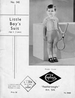 little boys set knitting pattern from 1930s