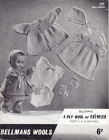 vintage knitting pattern for dolls 1950s