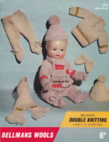 baby boll dolls knitting pattern with fair isle 1960s