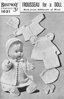 vintage baby doll knitting pattern for baby doll seet 1930s bestway 1031