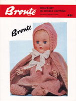 vintage toddler doll knitting pattern for cloak and dress set