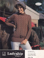 ladies aran longline jumper in aran knitting pattern