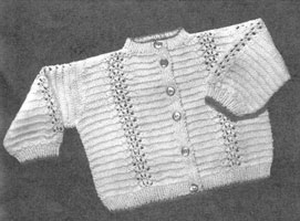 vintage baby cardigan knitting pattern from late 1940s