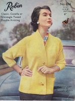 robin ladies jacket knitting pattern double knitting 1950s