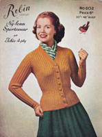 robin ladies cardigan knitting pattern 4ply 1950s