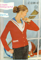 vintage fifties knitting pattern for 1950's ladies jacket