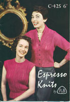 vintage 1950's cardigan knitting pattern from fifties