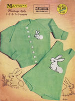 vintage childs cardigan with rabbits