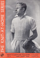 vintage lister 1930s sleeveless cricket or tennis slip over knitting pattern with cable pattern