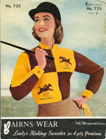 vintage knitting pattern for ladies with horses on
