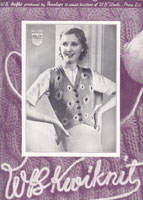vintage ladies embroidered waist coat knitting pattern 1930s