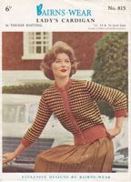 vintage knitting pattern for ladies cardigan 1950s