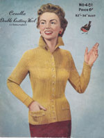 ladies cardigan knitting pattern from 1950s