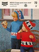 vintage knitting pattern for hat and jumper with fair isle for child