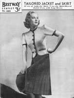 vintage ladies skirt and jacket knitting pattern 1940s
