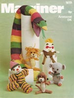 toy knitting pattern for toys including snake dog, cat, lion