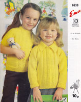 vintage childs jumper ahdn cardigan with collar knitting pattern 1970s