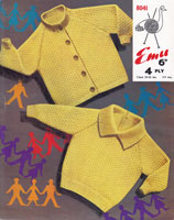 vintage jumoper and cardigan emu knitting pattern 1950s