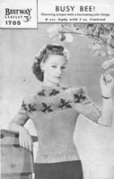 vintage fair isle knitting patternwith bees