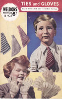vintage knitting pattern for boys ties and girls gloves 1950s