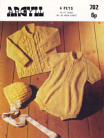 vintage knitting for romper and cardigan
