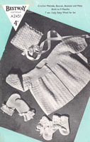 vintage crochet pattern for matinee coat and bonnet from wartime 1940s Bestway A2451