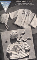 vintage Bestway A2407 baby knitting pattern for matinee jackets and bonnets from 1940s