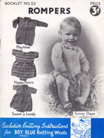 vintage baby romers knitting pattern 1940s