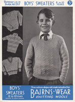 boys selection of jumpers to knit from 1940s knitting pattern vintage