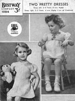 girls dress knitting pattern vintage 1930s two styles