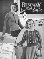 girls cardigan and jumper knitting pattern from Besstway 1930s