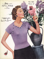 vintage 1950s ladies jumper knitting pattern