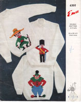 childrens picture knit cardigan jumper knitting patterns clown cowboy soldier