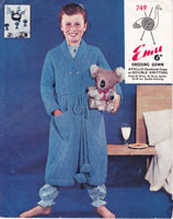 vintage girls boys childs dressing gown knitting patterns 1950s