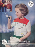 vintage girls picturer knit of cottage or drum major cardigan 1950s