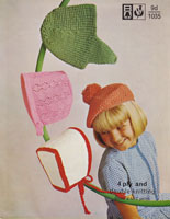 vintage knitting pattern for chindrens hats