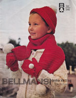 vintage knitting pattern for bobble hat and scarf for child