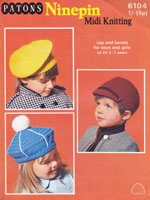 vintage knitting pattern for hats for childern