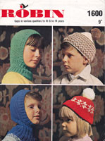 vintage knitting pattern for childrens hats
