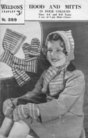 vintage knitting pattern 1930's hat for child