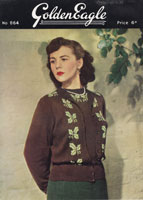 vintage golden eagle twinset with fair isle bands knitting pattern from 1940s
